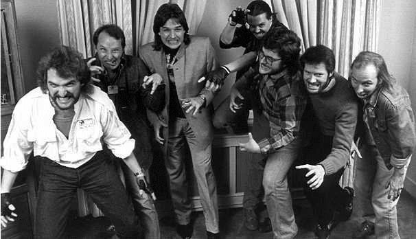 Photo of Craig Spector, Joe R. Lansdale. Richard Christian Matheson, David J. Schow, Ray Garton, Robert McCammon and John Skipp in 1986 by Beth Gwinn