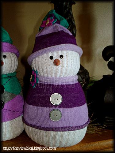 DIY sock snowman with a purple hat