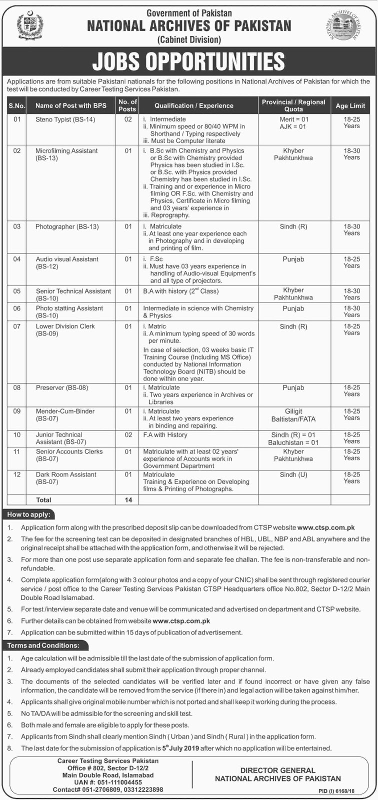 Advertisement for National Archives of Pakistan Jobs