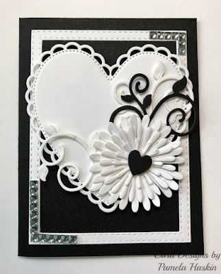 ODBD Custom Ornate Hearts Dies, ODBD Custom Asters and Leaves Dies, ODBD Custom Fancy Foliage Dies, ODBD Custom Double Stitched Rectangles Dies, Card Designed by Pamela Haskin