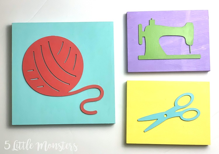 5 Little Monsters Craft Room Wall Art With The Cricut Knife Blade