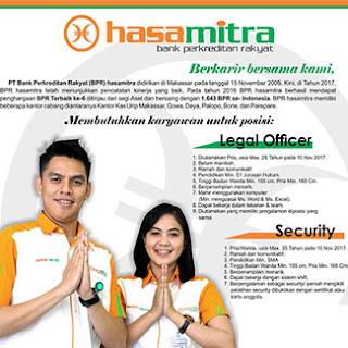 Lowongan Kerja Legal Officer dan Security PT Bank Perkreditan Rakyat Hasamitra