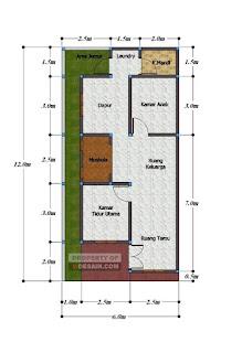 Desain rumah low budget 6x12 Ada Mushola Didalam Rumah