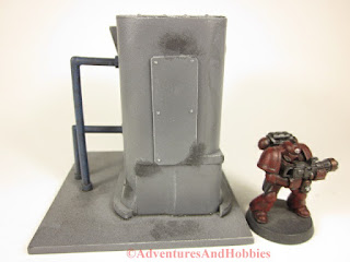 Miniature 25-28mm scale industrial processing unit T578 - side view B - UniversalTerrain.com