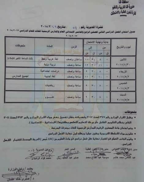 جدول امتحانات الصف الخامس الابتدائي 2018 الترم الثاني محافظة قنا
