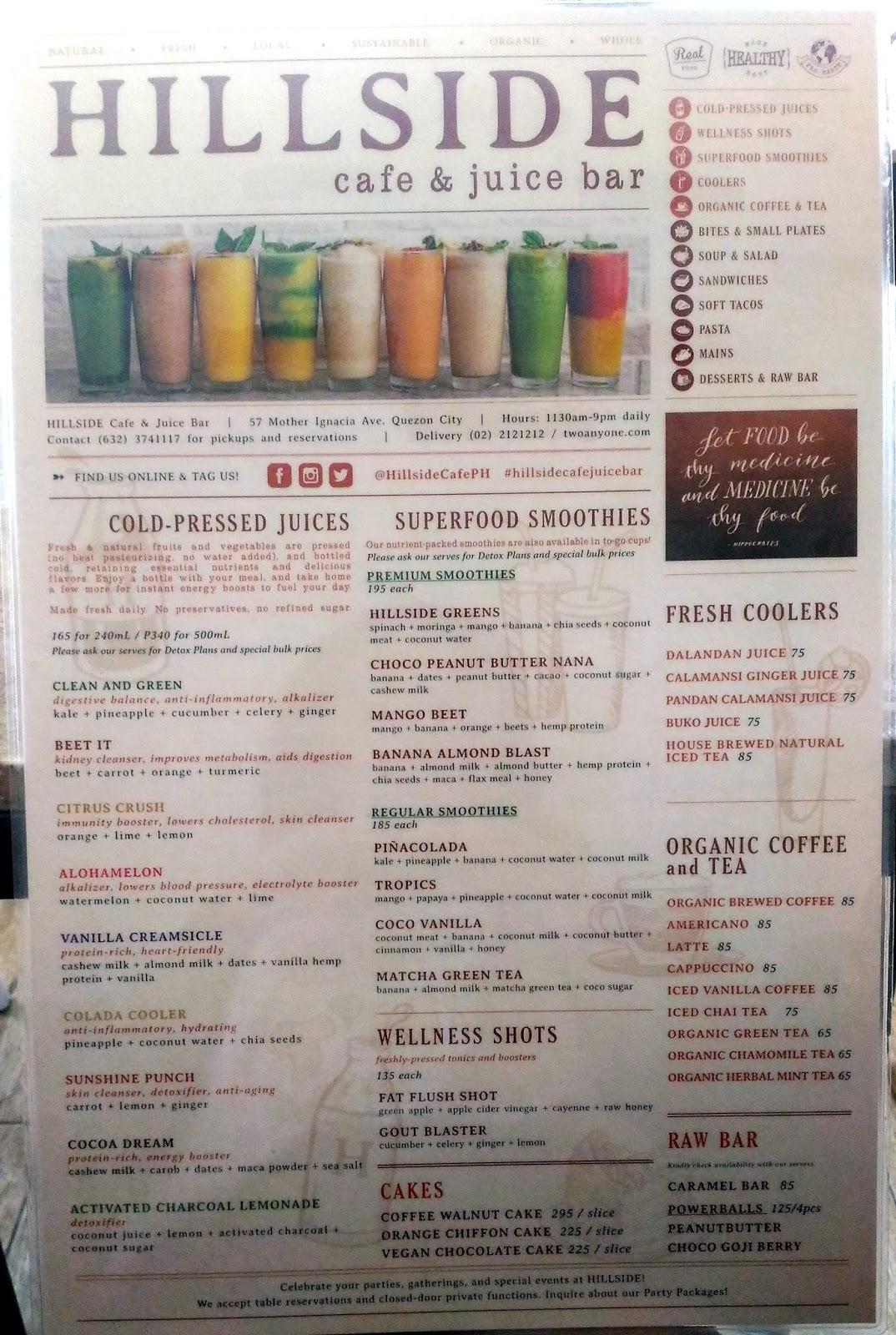 Hillside Cafe And Juice Bar Menu