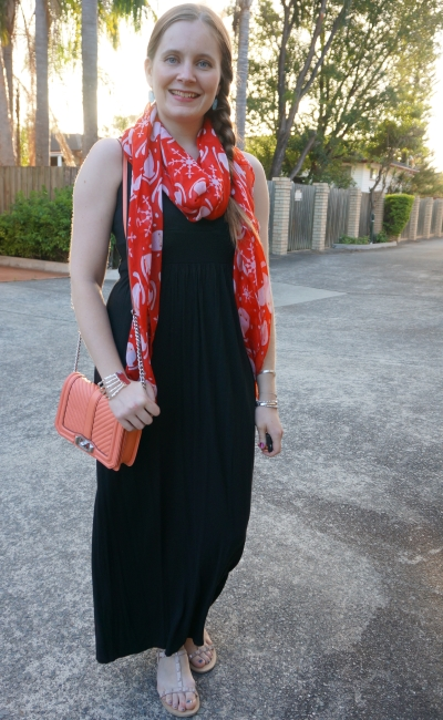 black halter maxi dress mums night out dinner outfit with red Santa print scarf coral Rebecca minkoff love bag | away from blue
