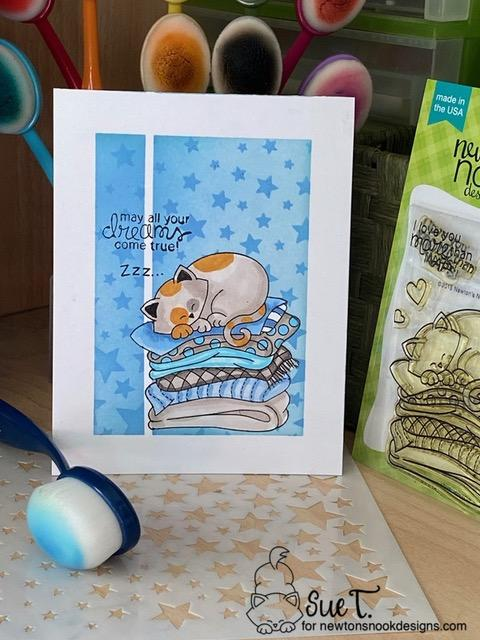 May all your dreams come true by Sue features Naptime and Cascading Stars by Newton's Nook Designs; #inkypaws, #newtonsnook, #catcards, #cardmaking, #stenciling