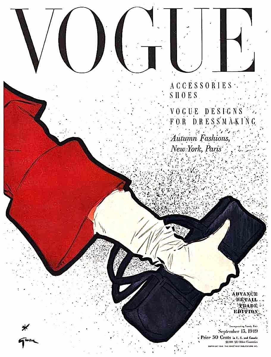 a Rene Gruau illustration for Vogue magazine, September 15 1949, a woman's arm holding a purse