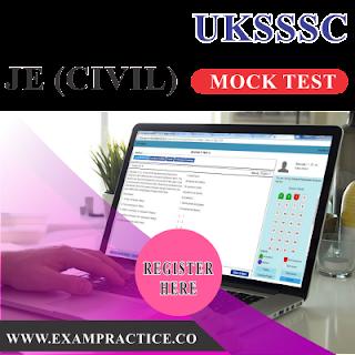 UKSSSC JE CIVIL MOCK PRACTICE TEST PAPER ONLINE
