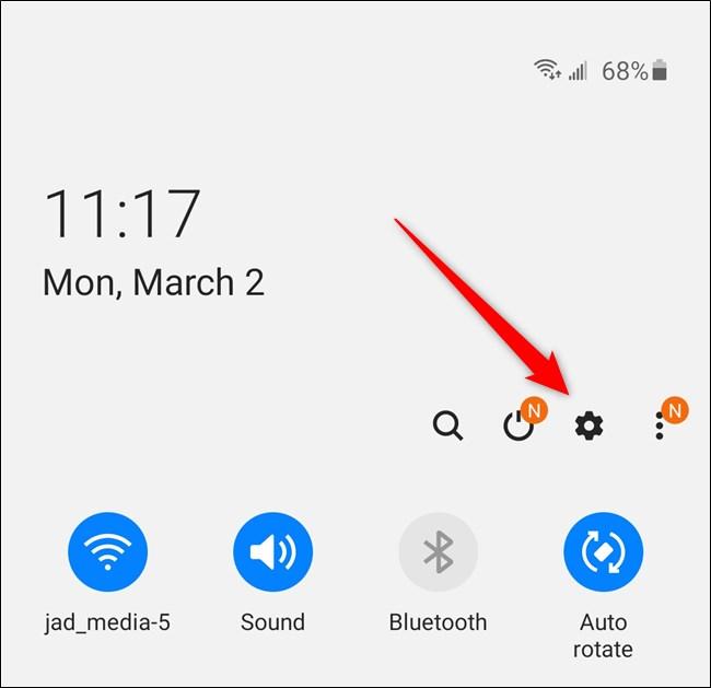 Samsung Galaxy S20 حدد رمز ترس الإعدادات