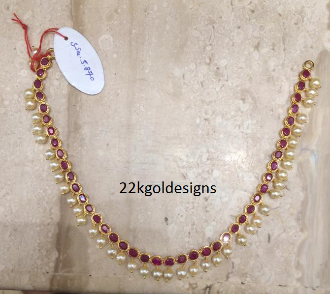 Simple Ruby Pearl Necklace in light weight