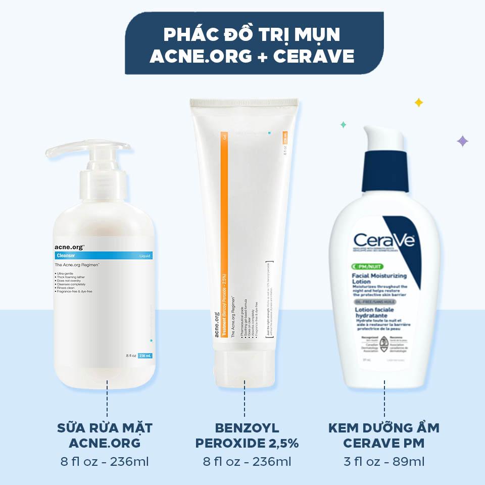 Theo mình kem dưỡng ẩm CeraVe PM là sự thay thế hoàn hảo cho kem dưỡng dưỡng ẩm acne.org trong bộ treatment kit này!