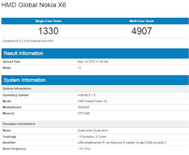 Nokia X6 with 6GB RAM spotted on Geekbench
