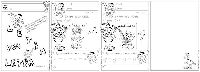 Atividades Letra Cursiva com Setas Ilustradas com a Turma da Mônica