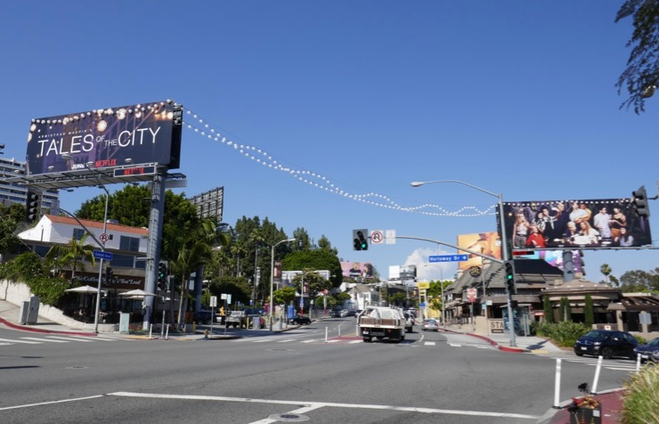 Tales of City lantern lights billboard Sunset Strip day