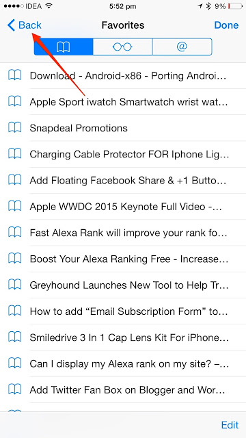How to check history in Safari web browser on an iPhone running iOS 8