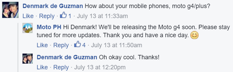 The FB confirmation of Moto PH, there's just no definite time yet