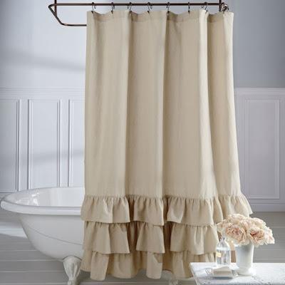 Ruffle Shower Curtain for Farmhouse Bathroom