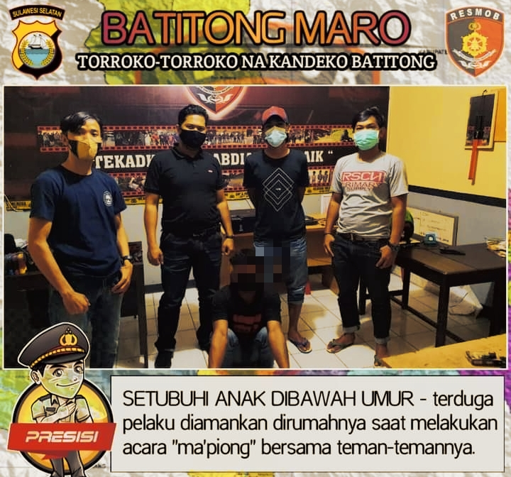 """Sementara """"Ma'piong"""" Terduga Pencabulan Anak Di Marinding Diringkus Team Batitong Maro"""