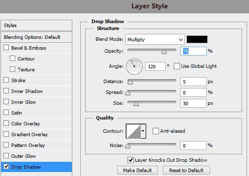 Pengaturan-drop-shadow-untuk-layer-putih
