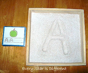 A is for apple sand tray activity