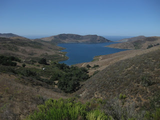 View of Whale Rock Reservoir and the Pacific Ocean from Old Creek Road above Cayucas, California