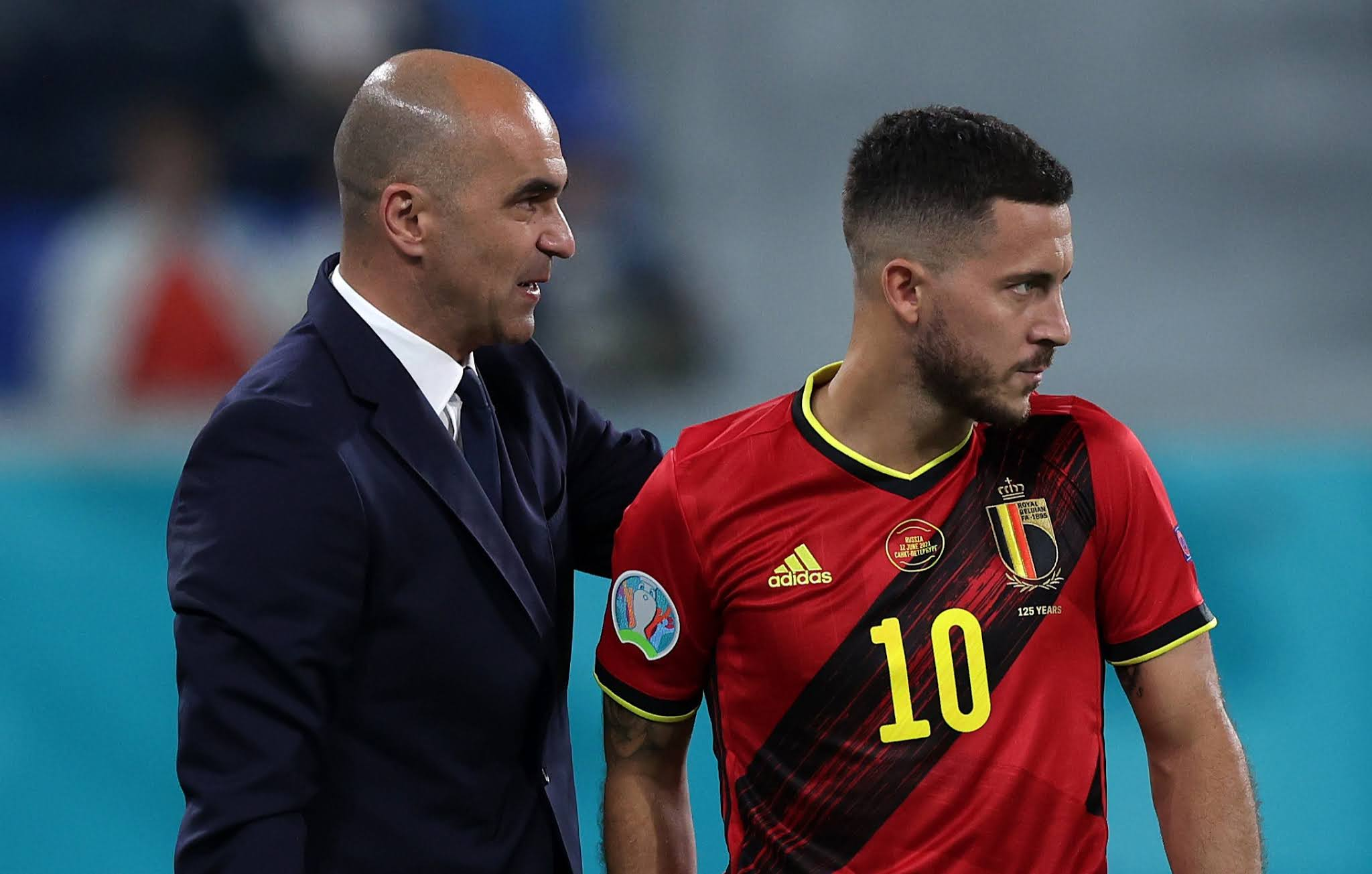 Belgian boss Roberto Martinez with talisman Eden Hazard