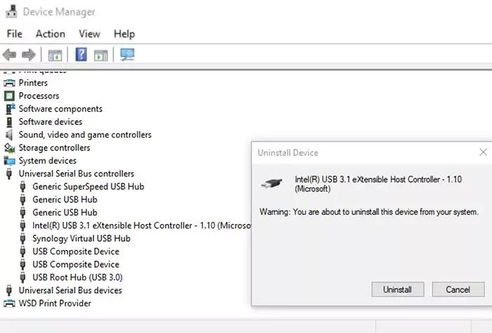 إلغاء تثبيت درايفر USB