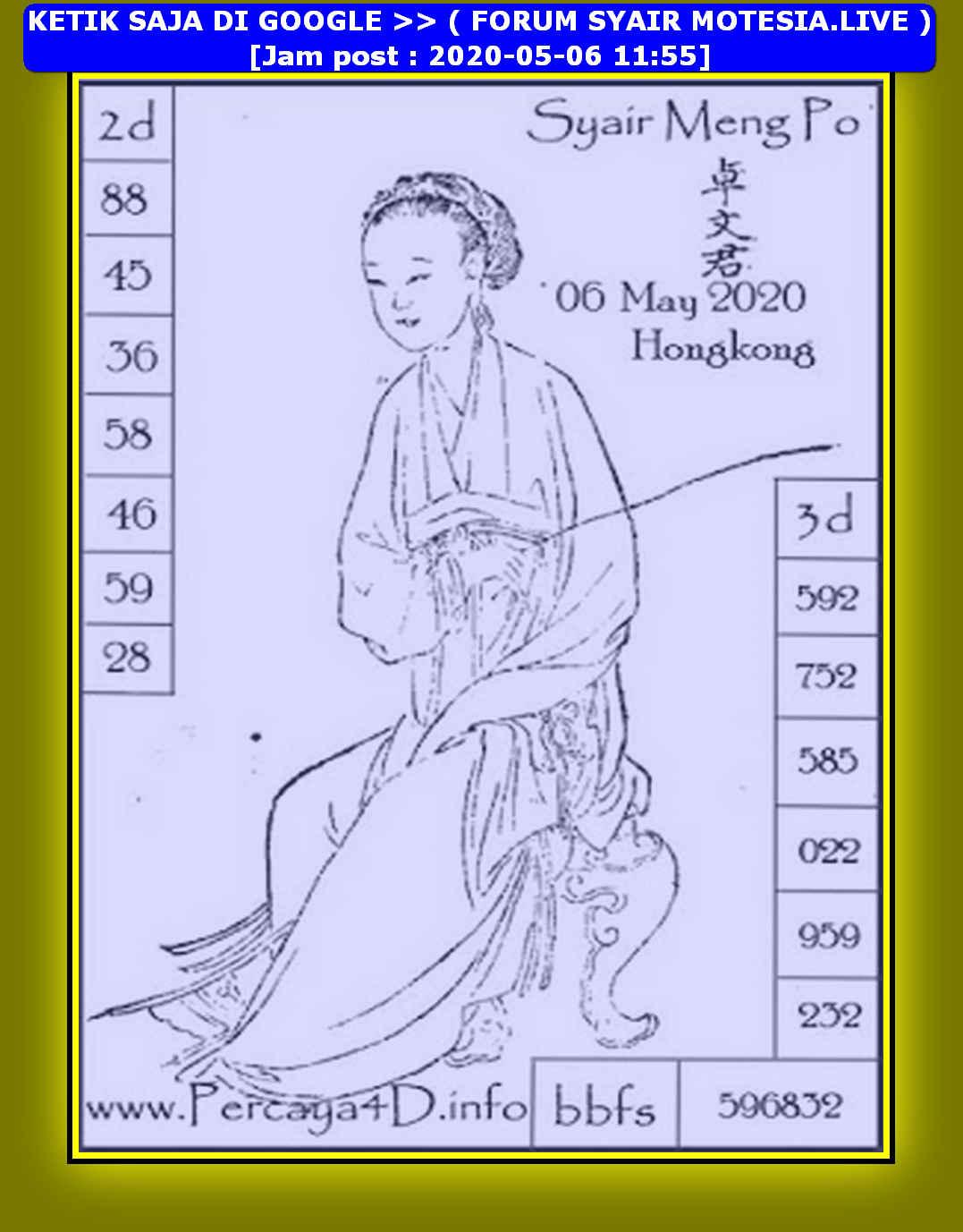 Kode syair Hongkong Rabu 6 Mei 2020 203