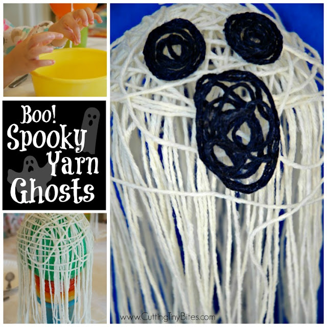 Halloween yarn craft for preschoolers or older. Messy, gluey, sticky fun with a super spooky ghost result!