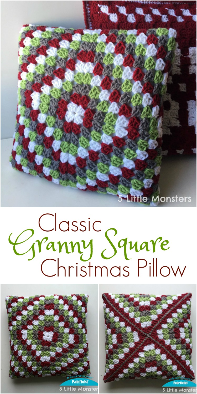 5 Little Monsters Classic Granny Square Christmas Pillow