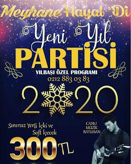 Meyhane Hayal'Di İstanbul Yılbaşı Programı 2020 Menüsü