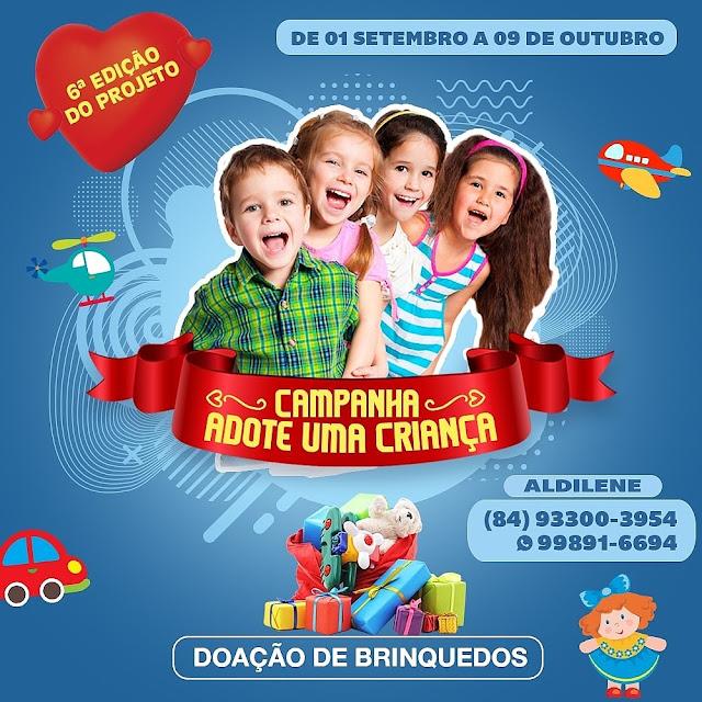 """Caraubense realiza sua 6ª Campanha """"Adote uma criança"""" para arrecadação de brinquedos"""