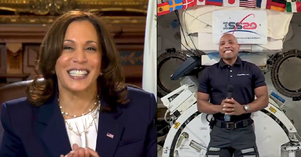U.S. Vice President Kamala Harris speaks with NASA astronaut and Crew-1 member Victor Glover aboard the International Space Station...on February 24, 2021.