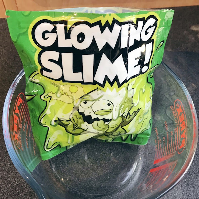 Glowing slime in an opened bag