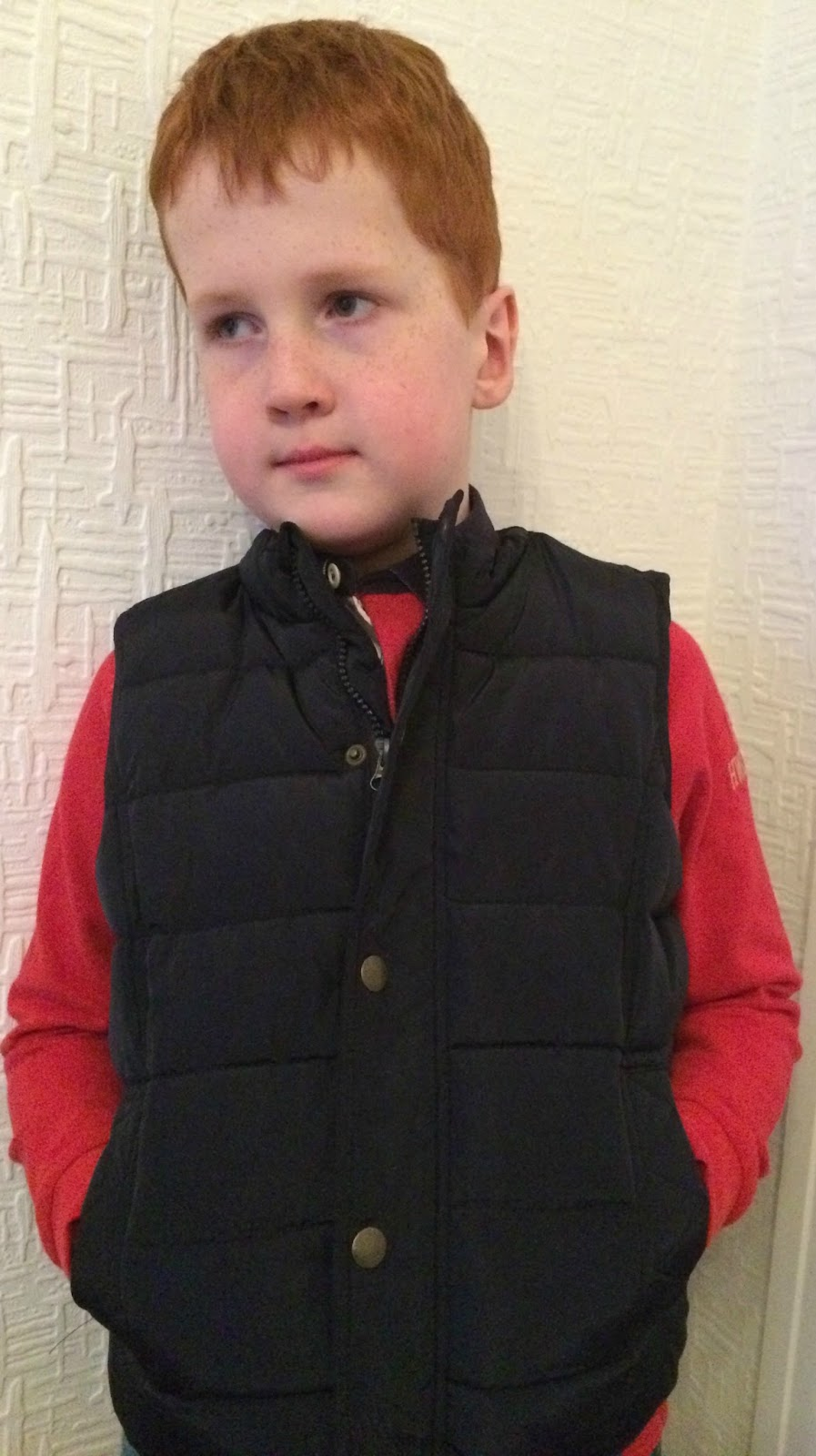Ieuan wearing the Howick Junior Boys Padded Gilet