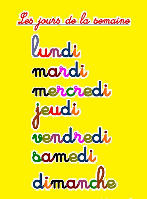 أيام الاسبوع بالفرنسية للاطفال