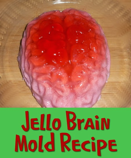 Red and pink jello brain from a mold