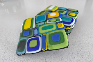 Stacked Glass Coasters after fusing