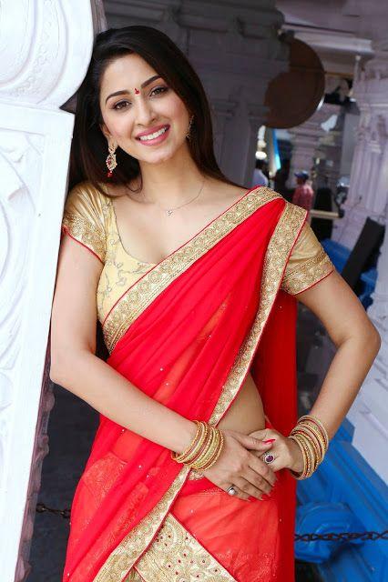 Actress Eshanya Maheshwari Hot Deep Cleavage Show in Golden Blouse Actress Trend
