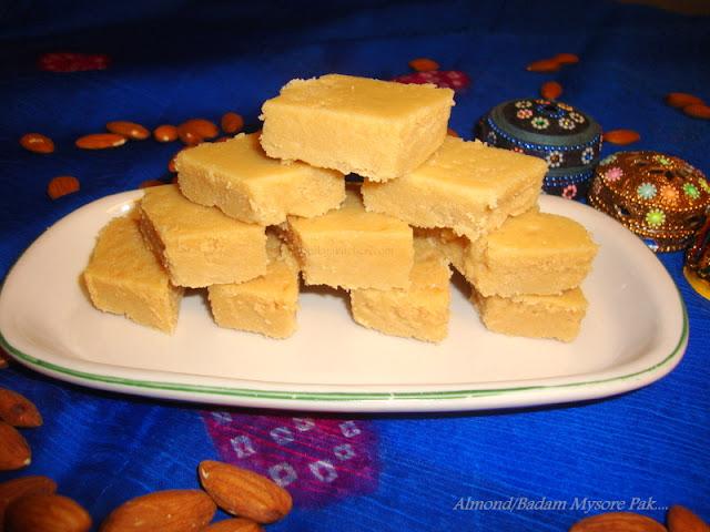 images of Badam Mysore Pak / Almond Mysore Paak