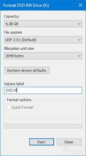Format CD / DVD biarkan default