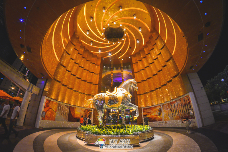 MGM Macau with sparkling horse sculpture at one of its entrance