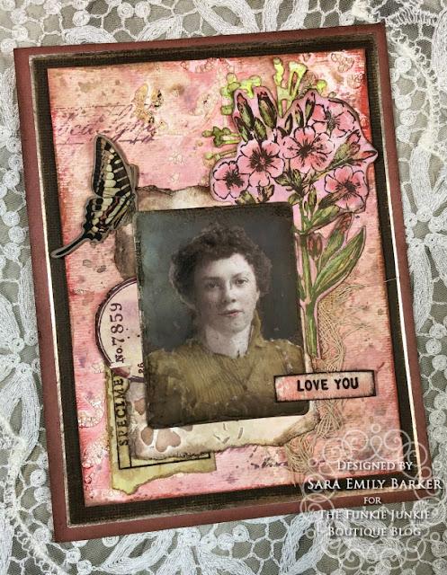 Sara Emily Barker https://sarascloset1.blogspot.com/2020/05/vintage-pink-inspiration.html Mixed Media Card #timholtz #stampersanonymous #rangerdistress #ideaology 1
