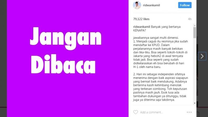 Penjelasan Ridwan Kamil soal maju Pilgub Jabar 2018