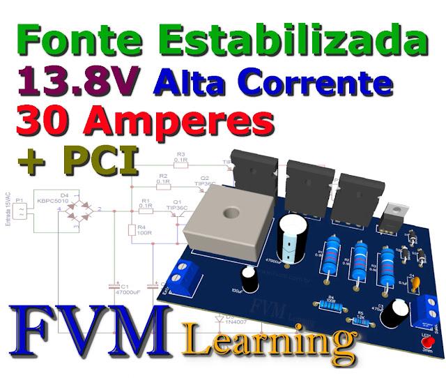Fonte Estabilizada 13.8V Alta Corrente 30 Amperes + PCI