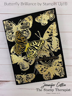 This card uses Stampin' Up!'s Butterfly Brilliance Bundle.  I also used Gilded Leafing, gold heat embossing, and Gold Foil Paper.  The Butterfly Brilliance Bundle is available now!  Click the picture to go to blog post and see link to video with instructions!  Measurements on the blog.  #StampinUp #StampTherapist #ButterflyBrilliance