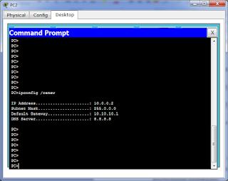 Компьютер PC2 получил IP адрес из пула для vlan 3