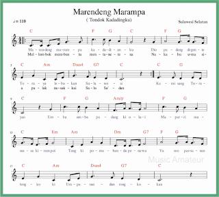 not balok lagu marendeng marampa lagu daerah sulawesi selatan